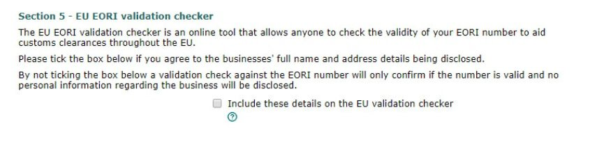 how to get an eori number validation