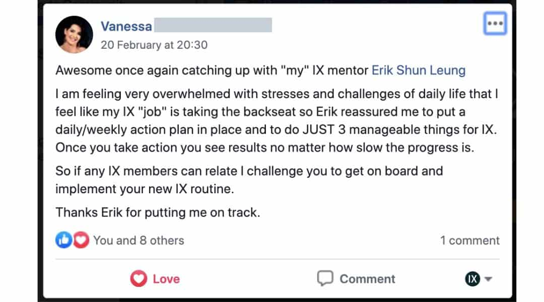 eriks success story facebook post